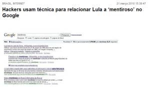 Lula Mentiroso no Google