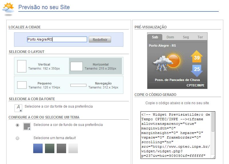 Widget de Previsão do Tempo