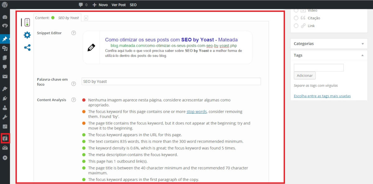 Tela do plugin WordPress by Yost na página de publicação do post