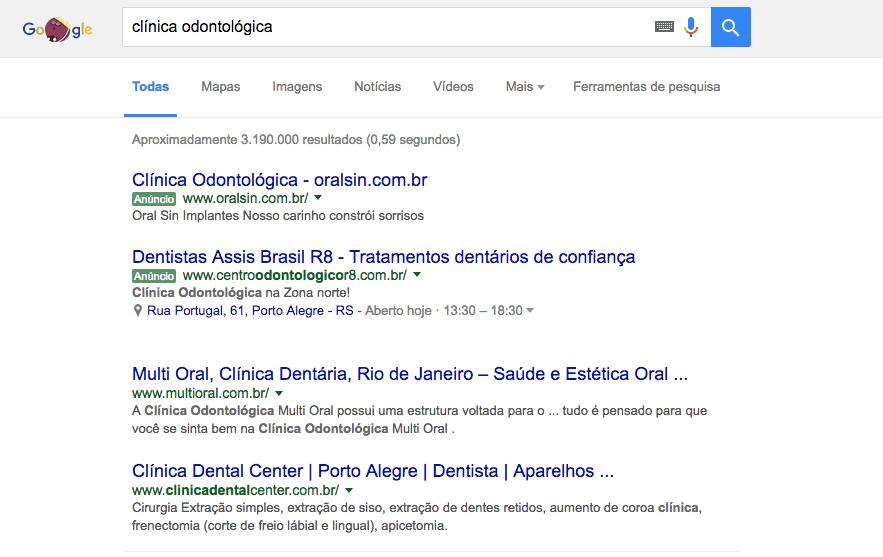 Resultado de busca do Google com anúncios e resultados orgânicos