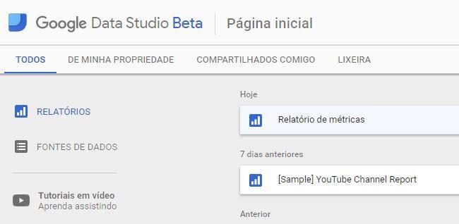 Página inicial do Google Data Studio Beta