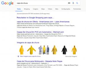Resultado de busca do Google com bloco de imagens