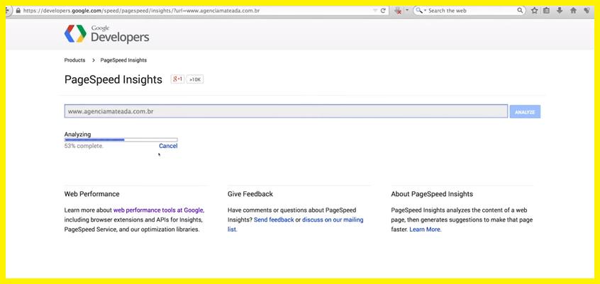 Otimizar o tempo de carregamento com Google PageSpeed