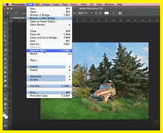 Opção de Salvar para a Web no Photoshop