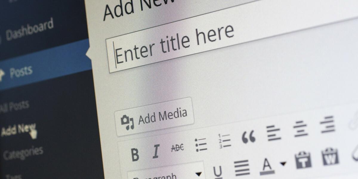 Tela de publicação de um blog corporativo em WordPress