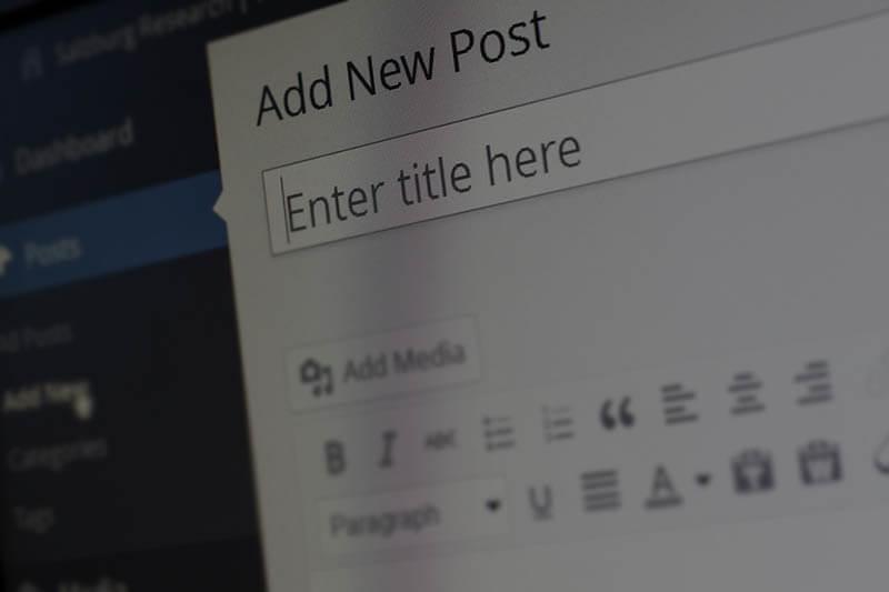 Imagem de um print da tela de postagem do Wordpress para blogs.