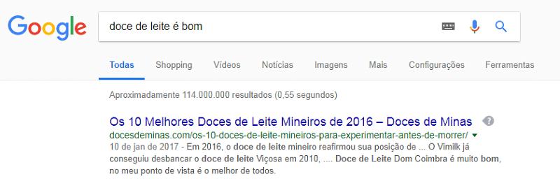 Print que mostra o número aproximado de resultados de busca no Google para uma palavra-chave específica.