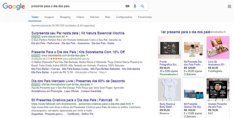 Anúncios de Dia dos Pais no Google