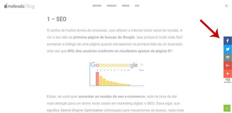 Print de um texto do blog da Mateada mostrando os botões de compartilhamento para redes sociais.