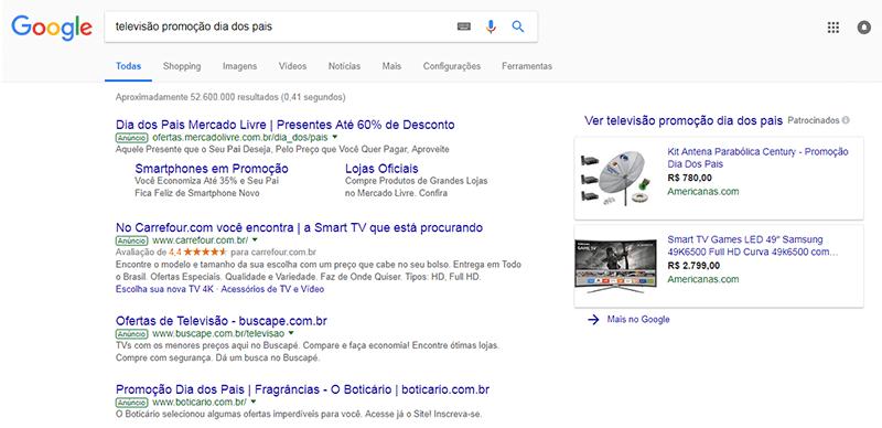 Google com os anúncios de Dia dos Pais.
