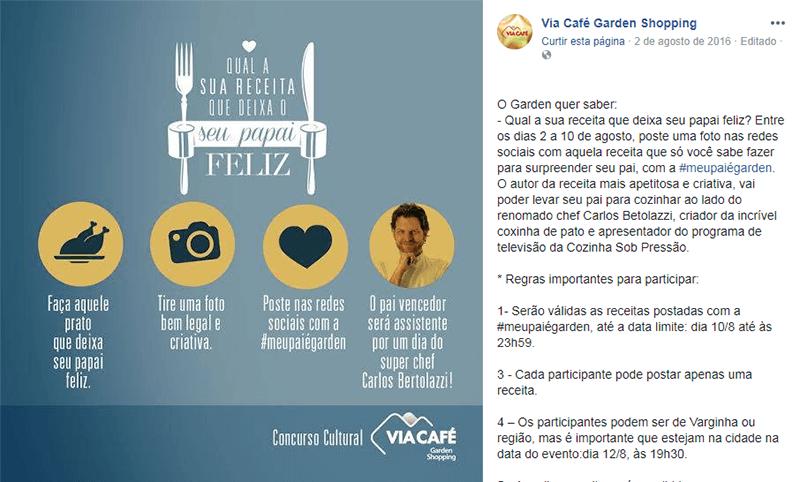 Promoção de Dia dos Pais do Via Café Garden Shopping