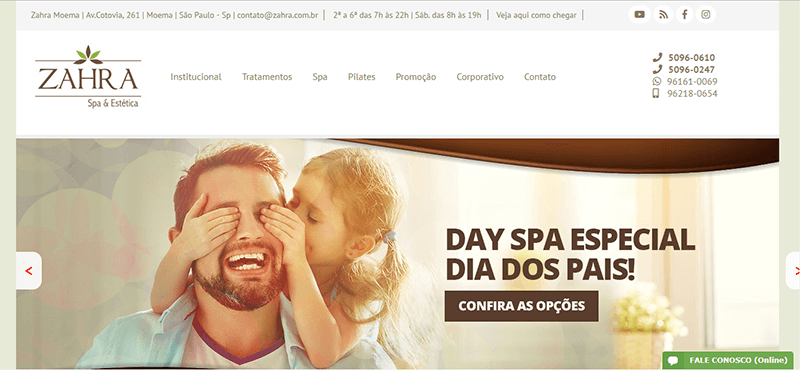 Site do Spa Zahra no Dia dos Pais.