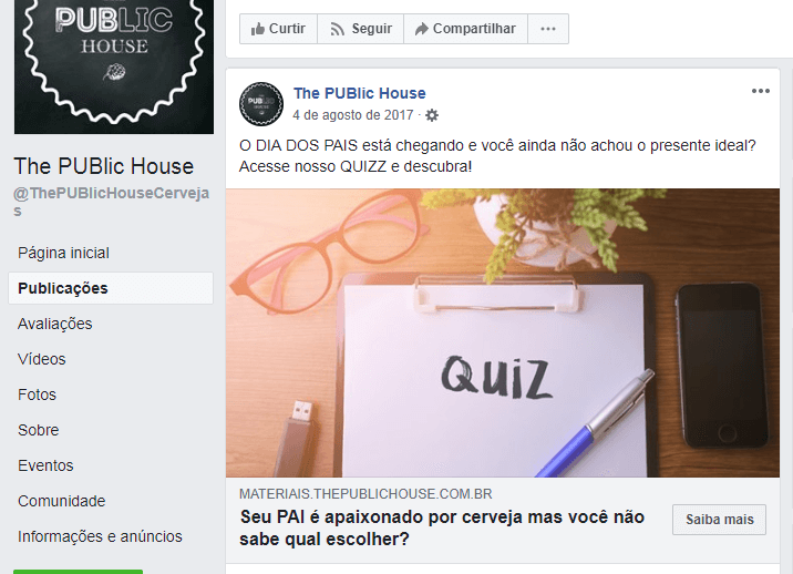 Quiz de Dia dos Pais no Facebook da The Public House.