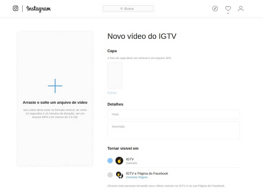 Página de upload no IGTV no desktop