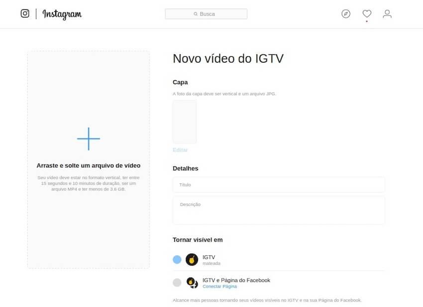 Página de upload no IGTV no desktop