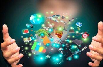 Imagem com vários elementos que representam a informação do marketing de conteúdo.