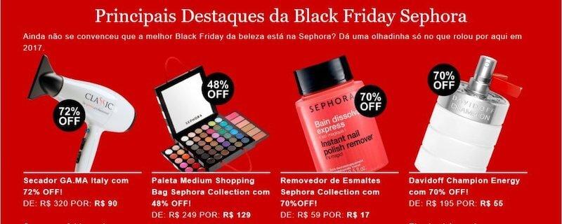 Destaque dos principais produtos na BlackFriday da Sephora