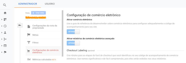 Print da tela de Configuração de Comércio Eletrônico no Google Analytics