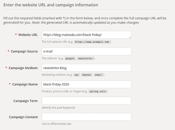 Print do formulário do URL Builder