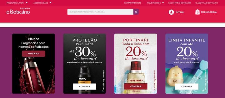 Promoções no site de O Boticário