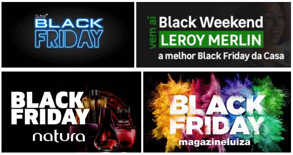 Exemplos de identidade visual de campanhas de Black Friday de e-commerces