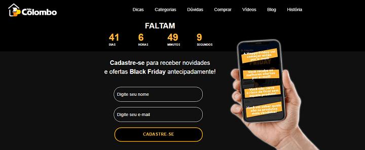 Landing page de campanha de Black Friday