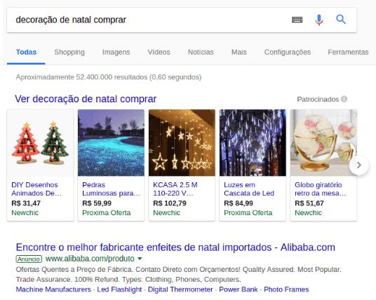 Anúncios do Google Shopping como primeiros resultados.