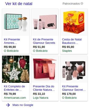 Anúncios do Google Shopping como vitrine lateral.