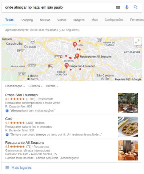Resultados do Google Meu Negócio para busca relativa a onde almoçar no Natal.