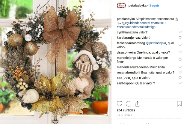 Post de campanha de Natal no Instagram.