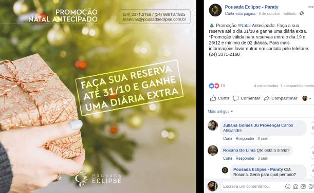 Post promocional de campanha de Natal no Facebook.